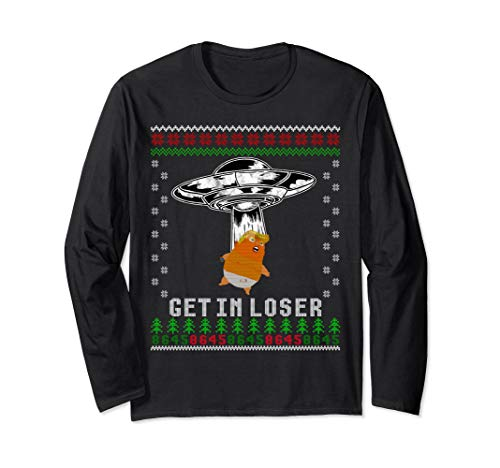 Anti Trump Ugly Christmas Long Sleeve Shirt UFO Alien Abduct