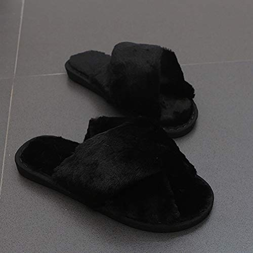 Colorful Sandals Women's Fur Home Suede Candy Shoes Wool Casual Black Slides Warm Winter Cross Slippers Indoor qrczq6xC
