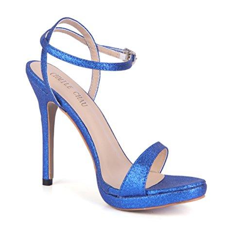 Zapatos Chau de Tacon Sexy Mujer de CHMILE Vestido para Blue Tobillo c 1cm de Fiesta Aguja de Plataforma Correa Sandalias Alto wqXdY5Y