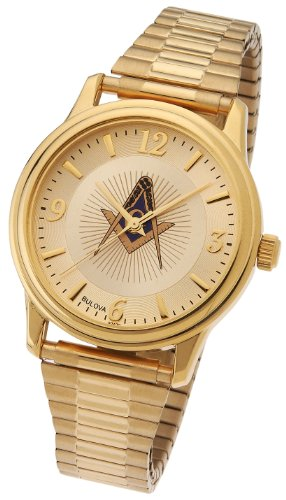(Men's Bulova Caravelle Gold Plated Masonic Blue Lodge Watch )