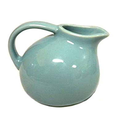 Small Round Stoneware Pitcher Creamer Retro Colors (Blue)