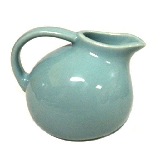 - 180D Small Round Stoneware Pitcher Creamer Retro Colors, Blue, 4.5