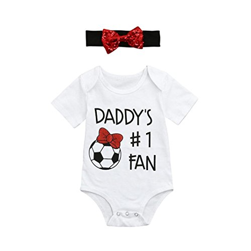WARMSHOP Creepers Bodysuit for 0-18 Months, Pretty Girls Boys Short Sleeve Father's Day Soccer Print Romper+Headbands (0-3 Months, White) for $<!--$5.69-->