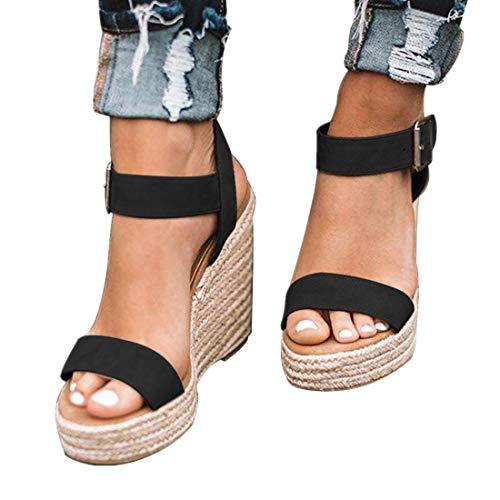 DEARWEN Women's Espadrilles Wedge Sandals Open Toe Ankle Strap Platform Heeled Cute Sandals Black 8