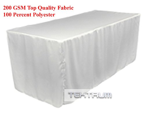 TEKTRUM 6-Feet Long Fitted Table DJ Jacket Cover for Trade Show - Thick/Heavy Duty/Durable Fabric - White Color (TD-JKT-WHT-6FT)