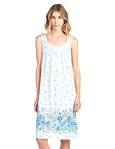 Casual Nights Women's Fancy Lace Floral Sleeveless Nightgown - Blue - - Lace Nightgown Floral