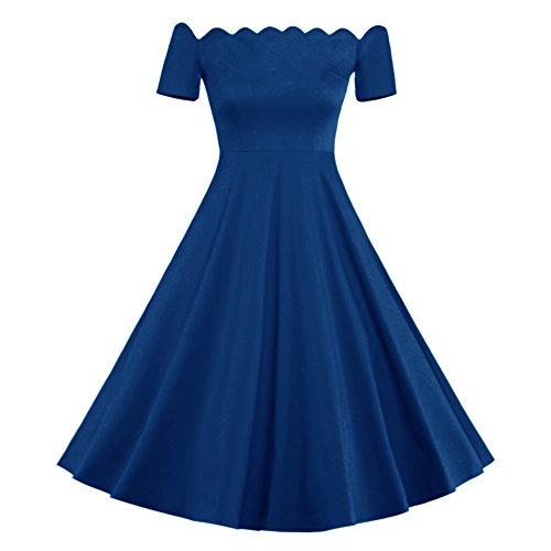 Ruiyuhong Women's Off Shoulder Casual 1950'S Style A-Line Indigo Evening Party (Indigo Satin Bridesmaid Dress)
