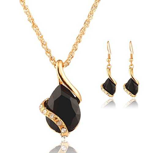 Necklace Earring Set Cuekondy Heart Crystal Water Drop Statement Jewelry (Black) (Black Crystal Necklace Earrings)
