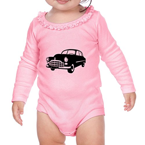 Classic 60s Car Sunflower Ruffle Long Sleeve Bodysuit Soft Pink 6 (60s Outfit Ideas)