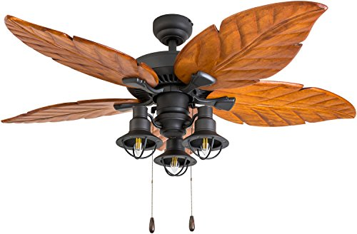 (Prominence Home 50784-01 Deer Mountain Tropical Ceiling Fan (3 Speed Remote), 52