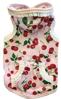 Cherry Ruffle Dog Hoodie - Pink Cherry Print, White Lace - Ruffle Cherry