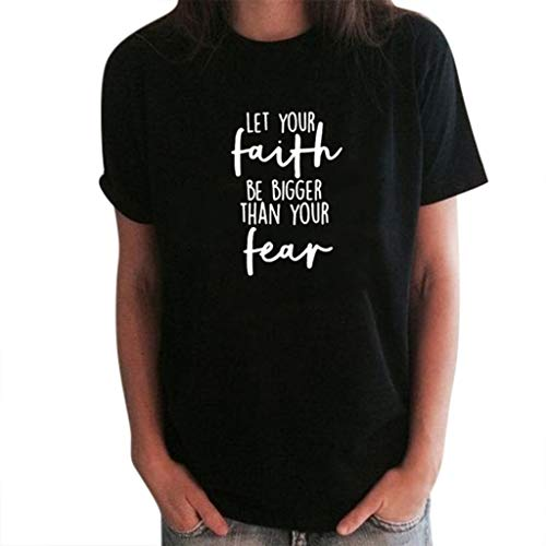 TWGONE Let Your Faith Be Bigger Than Your Fear Shirt Women's Loose Short-Sleeved Print T-Shirt Casual O-Neck Top(XXX-Large,Black-k)