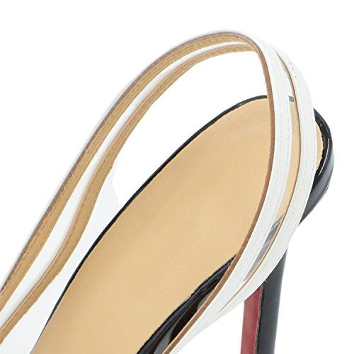 Oasap Mujer Zapatos Tacón Estilete Punta Estrecha Color-Bloque Oro