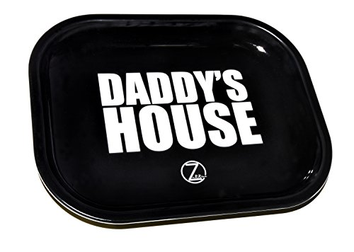 DADDY'S HOUSE Metal Rolling Tray - Mini (Black) - Gift Idea For Him, Husband, Relatives, Coworker, Friends & Family - Unique Gift. - 85 Textured Rust Finish