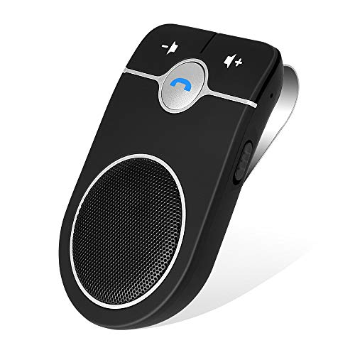 Bluetooth Hands Free Speakerphone, Aigital Upgraded Bluetooth Car Kit AUTO Power ON Speaker for Cell Phone, Wireless Visor-Clip Music Player with Built-in Mic for Hands-Free Talking for Safe Driving (Bluetooth Car Kit Text)