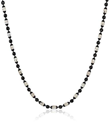 Italian Sterling Silver Rhodium and Black Rhutenium Plated Diamond Cut Oval and Round Beads Mezzaluna Chain Necklace