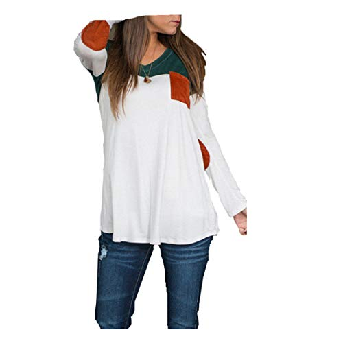 (❤️ Long Sleeve Stitching Top, Clearance Fashion Women's Long Sleeve Shirt Casual Blouse Loose Cotton Tops T-Shirt)
