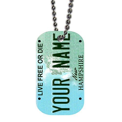 (BleuReign(TM) Personalized Custom Name New Hampshire State License Plate Single Sided Metal Military ID Dog Tag with Beaded Chain)
