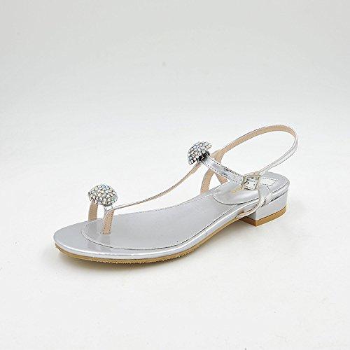 pelle verniciata ruvida bassa donna calzature sandali e argento testa Estate 38 fissaggio e di rotonda elegante PxqwzUB