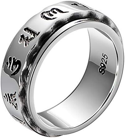 シルバー925 リング メンズ お守り梵字リング 真言指輪 指輪 ユニセックス チベット密教 シルバー リング(指輪)シンプル 誕生日 プレゼント 六字真言 マントラ仏教