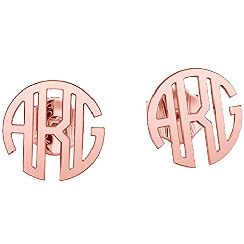 Ouslier Personalized 925 Sterling Silver Monogram Stud Earrings Custom Made with 3 Initials (Rose (Behringer In Ear Monitor System)