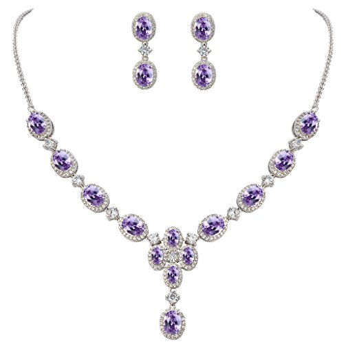 EVER FAITH Women's Oval CZ Gorgeous Floral Teardrop Pendant Necklace Earrings Set Purple Silver-Tone