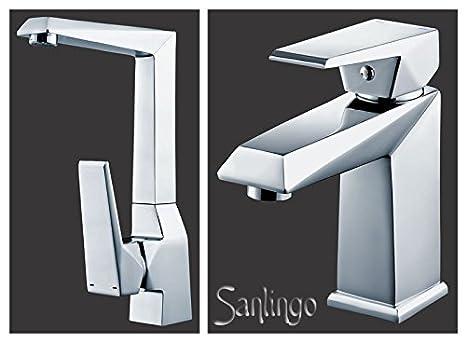 Serie KOSI Design Bad Waschtisch Einhebel Armatur Wasserhahn Chrom Sanlingo