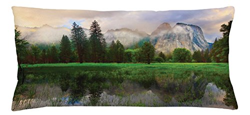 Ambesonne Yosemite Throw Pillow Cushion Cover, Sunset Panorama of Yosemite Cathedral Rocks Trees Cloudy Sky Reflection Riverside, Decorative Square Accent Pillow Case, 36 X 16 inches, Beige Green - Riverside Deck Chair Set