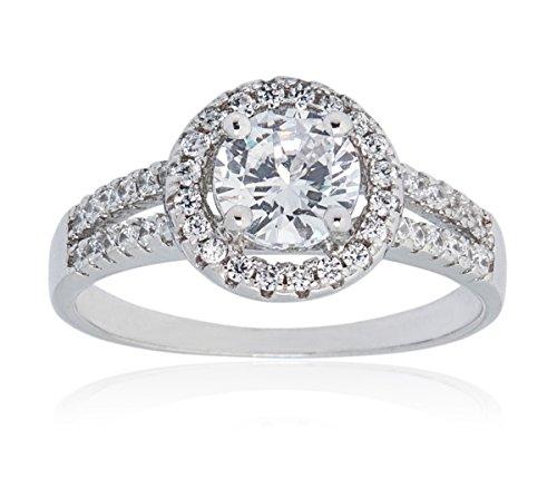 Ladies Ring Silver Tone Round Cubic Zirconia with Halo Size 7 Mia Sarine
