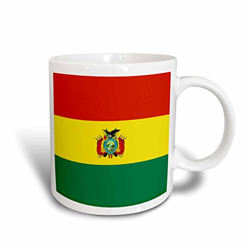 3dRose (mug_157834_2) Bolivian Flag with coat of arms - Bolivia red yellow green stripe - world state flags - La Tricolor - Ceramic Mug, 15-ounce