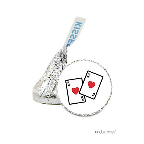 Andaz Press Chocolate Drop Labels Stickers, Wedding, Casino Playing Cards, 216-Pack, For Hershey's Kisses Party Favors, Gifts, Decorations, Vegas, Bachelorette (Favors Playing Cards Personalized Wedding)