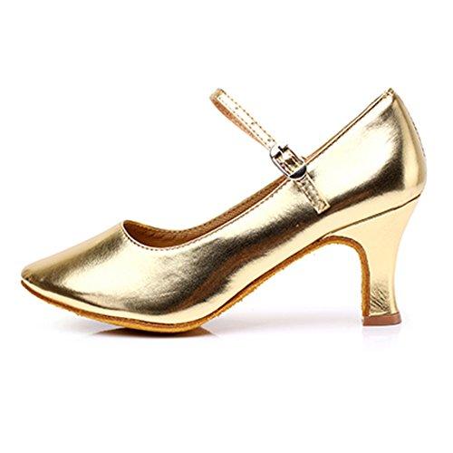 Modernos Baile 1 Mujeres Zapatos De Baile Latino Mediados Social De Piel WYMNAME Baile Zapatos Zapatos Baile Tacones De Zapatos De Dorado twgCqCX