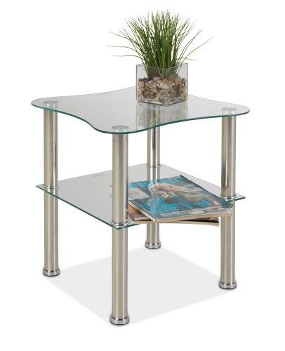 Beistelltisch Glas Edelstahl Klark 1
