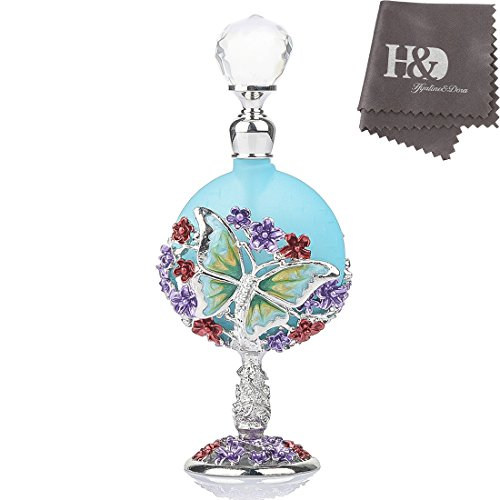 Fancy Blue Butterfly and Flower Pattern Restoring Ancient Antique Perfume Bottles Empty (Ancient Perfume Bottles)