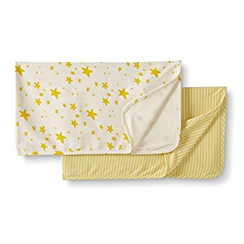 Moon and Again by Hanna Andersson Unisex Child 2-Pack Natural Swaddle Blanket