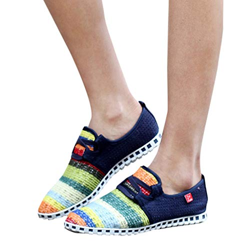 Price comparison product image SMALLE New Women's Shoes, Quick-Drying Flat Colorful Weaving Shoes Non-Slip Breathable Light Casual Lazy Shoes Dark Blue