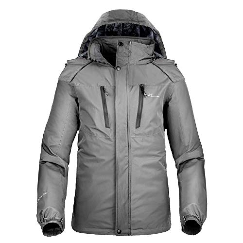 OutdoorMaster Men's Ski Jacket Basic - Winter Jacket with Elastic Powder Skirt & Removable Hood, Waterproof & Windproof (Gray,L) ()