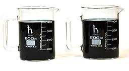 Premium Hand Crafted Beaker Mugs, Laboratory Quality Borosilicate Glass, 16.9oz (500mL) Capacity - Pack of 2 Mugs