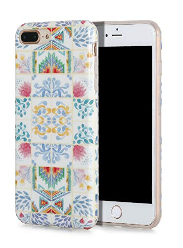 (SunshineCases【Moroccan Watercolor Tiles】 Flexible, Thin, Non-Slip Case Design【Compatible: Apple iPhone 8 Plus & iPhone 7 Plus】)