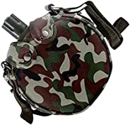 Angoily Military Canteens Star Camouflage Bag Stainless Steel Water Bottle Canteen with Cover for Camping Hiki