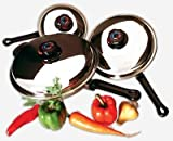 Precise Heat KTFP3 6 Piece Stainless Steel Skillet Set with Steam Control Knobs