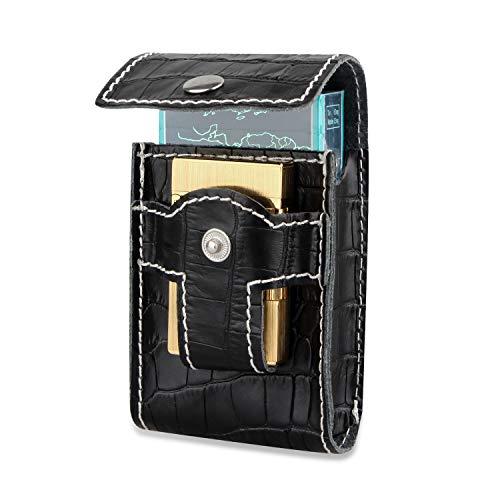 (Black Cigarette Case Wallet with Lighter Holder Waist Belt Loop Cigarette Pack Case Box for Kind Size&100's)