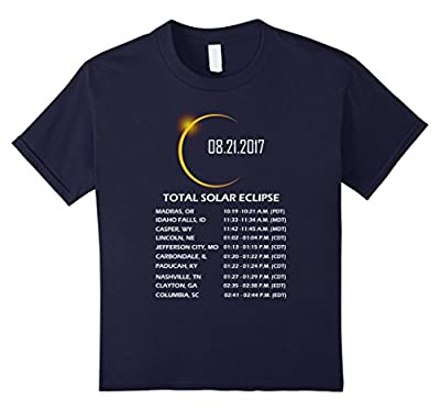Total Solar Eclipse 2017 T Shirt, Time & Place Where To See