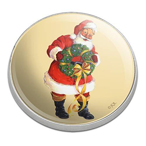 GRAPHICS & MORE Christmas Holiday Santa Holding Wreath Golfing Premium Metal Golf Ball Marker