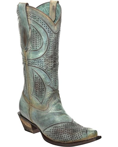 Corral Womens Distressed Turquoise Laser Gesneden Cowgirl Laars Knip Toe Teen - C3137 Turquoise