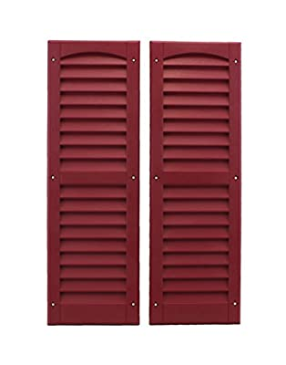 """Louvered Shed Shutter or Playhouse Shutter Maroon 9"""" X 27"""" Sold By the Pair"""