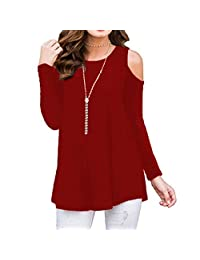 Froomer Women's Casual Tops Off Shoulder Long Sleeve Loose Blouse Tshirts Plus Size