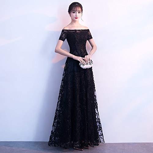 Fête Noire Robe Printemps Longue Annuelle De Soirée Banquet Qjkai Élégante Aw8pxSZqxn