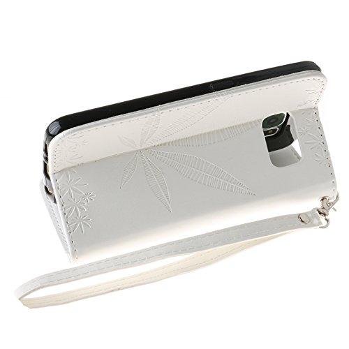 SRY Caja de cuero del soporte de la carpeta del tirón de la PU con el diseño grabado en relieve de la hoja de arce de la tarjeta para el borde de Samsung Galaxy S6 ( Color : Gray ) White