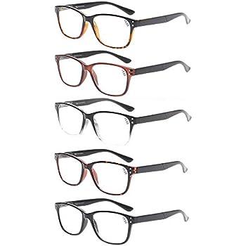 84b455f1c94 Reading Glasses 5-Pack Quality Readers Spring Hinge Glasses for Reading for  Men and Women (2.00